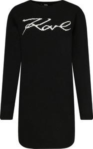 Czarna sukienka Karl Lagerfeld z kaszmiru z długim rękawem mini