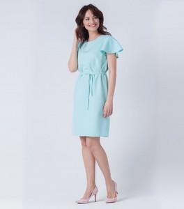Miętowa sukienka butik-choice.pl z okrągłym dekoltem midi