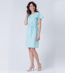 fd7e21d1a3 Miętowa sukienka butik-choice.pl z okrągłym dekoltem midi