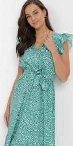 Zielona sukienka born2be trapezowa z dekoltem w kształcie litery v