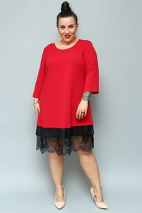 Czerwona sukienka KARKO midi z okrągłym dekoltem
