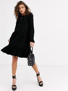Czarna sukienka Object oversize z zamszu