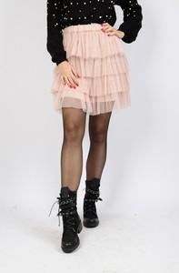 Różowa spódnica Olika z tiulu mini w młodzieżowym stylu