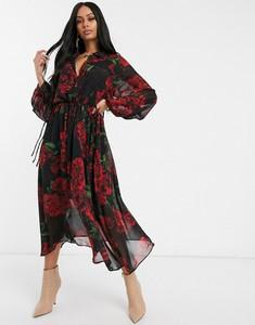 Sukienka NA-KD z dekoltem w kształcie litery v z szyfonu z długim rękawem