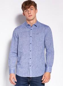 Niebieska koszula Lee Cooper z klasycznym kołnierzykiem z tkaniny w stylu casual