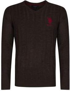 Czarny sweter U.S. Polo w stylu casual