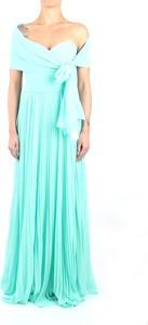 Niebieska sukienka Pronovias z krótkim rękawem maxi