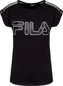 Czarny t-shirt Fila z okrągłym dekoltem w sportowym stylu z krótkim rękawem