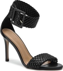 cc27581d Czarne sandały Kazar z klamrami na wysokim obcasie