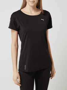 Czarna bluzka Puma w sportowym stylu z krótkim rękawem