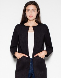 Czarny płaszcz Venaton w stylu casual