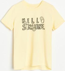 Żółta bluzka Reserved z bawełny z okrągłym dekoltem z krótkim rękawem