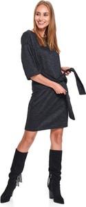Sukienka Top Secret z okrągłym dekoltem z długim rękawem