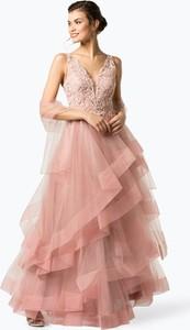 Różowa sukienka Unique w stylu glamour maxi