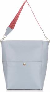 Niebieska torebka GENUINE LEATHER duża w stylu casual na ramię