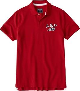 Czerwona koszulka polo Abercrombie & Fitch z krótkim rękawem