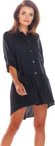 Czarna sukienka Awama koszulowa