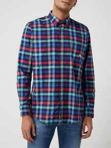 Granatowa koszula Lerros z kołnierzykiem button down z bawełny