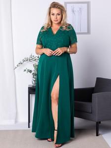Sukienka KARKO z dekoltem w kształcie litery v z tkaniny maxi