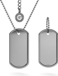 GIORRE KOMPLET NIEŚMIERTELNIK Z WŁASNYM GRAWEREM I ŁAŃCUSZKIEM : Długość (cm) - 60 + 5, Kolor pokrycia srebra - Pokrycie Czarnym Rodem