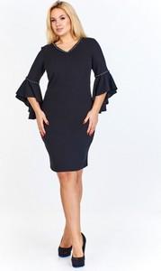 Granatowa sukienka Madam Tris z długim rękawem