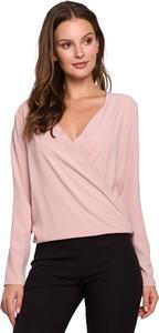 Bluzka Merg w stylu casual z dekoltem w kształcie litery v