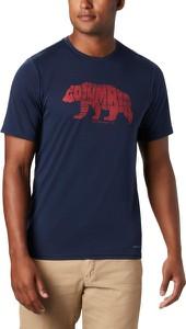 Granatowy t-shirt Columbia z krótkim rękawem