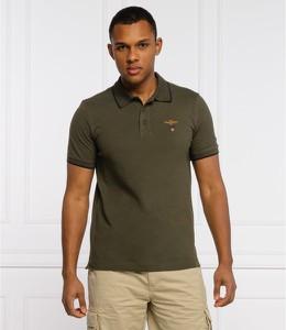 Zielona koszulka polo Aeronautica Militare w stylu casual