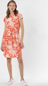 Pomarańczowa sukienka comma, mini z okrągłym dekoltem z krótkim rękawem