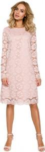 Różowa sukienka MOE z długim rękawem z tkaniny trapezowa