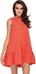 Czerwona sukienka N/A bez rękawów mini z okrągłym dekoltem