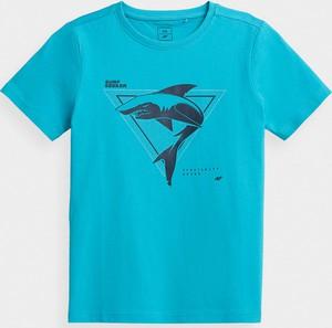 Niebieska koszulka dziecięca 4F z bawełny
