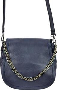 Niebieska torebka Lookat na ramię w stylu retro zdobiona