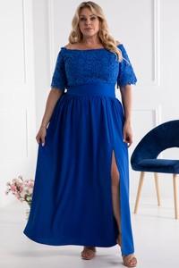Sukienka KARKO z tkaniny z krótkim rękawem maxi