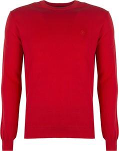 Czerwony sweter Roberto Cavalli z okrągłym dekoltem
