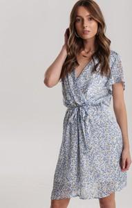Niebieska sukienka Renee mini z dekoltem w kształcie litery v bez rękawów