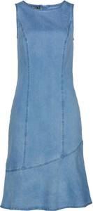 Niebieska sukienka bonprix bez rękawów mini