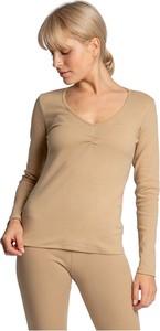 Brązowa bluzka Lalupa z długim rękawem z okrągłym dekoltem w stylu casual