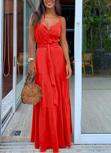 Sukienka Sandbella z dekoltem w kształcie litery v na ramiączkach maxi