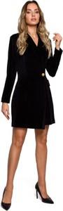 Czarna sukienka MOE z dzianiny z dekoltem w kształcie litery v w stylu casual