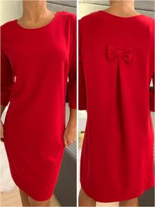 Czerwona sukienka ModnaKiecka.pl w stylu casual mini z okrągłym dekoltem