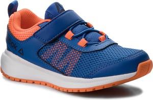 3fe4e47542be Niebieskie buty sportowe dziecięce Reebok ze skóry na rzepy