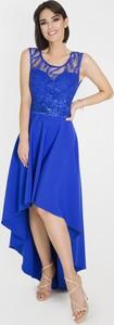 Niebieska sukienka Marcelini z tiulu gorsetowa