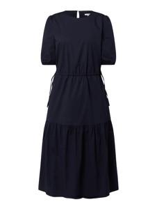 Granatowa sukienka Esprit midi z okrągłym dekoltem z krótkim rękawem