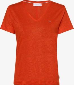 Pomarańczowy t-shirt Calvin Klein z lnu w stylu casual z dekoltem w kształcie litery v