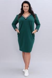 Zielona sukienka KARKO z dzianiny midi z długim rękawem