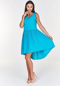 Turkusowa sukienka Fokus rozkloszowana mini bez rękawów