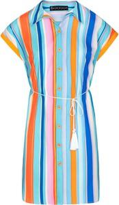 Niebieska sukienka BLEU D'AZUR z krótkim rękawem mini