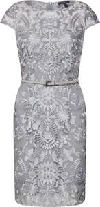 Srebrna sukienka Esprit z okrągłym dekoltem midi