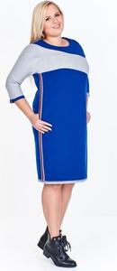 Sukienka Fokus midi z okrągłym dekoltem oversize
